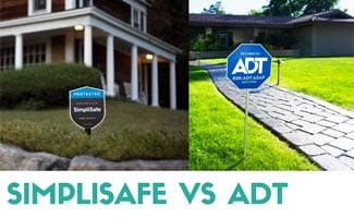 SimpliSafe and ADT yard signs side by side (caption: SimpliSafe vs ADT)