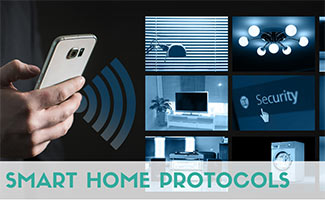 Person interacting with smart home devices from phone (caption: Smart Home Protocols)