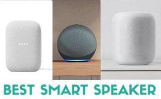 Google Nest, Echo, and HomePod side by side (Caption: Best Smart Speaker)