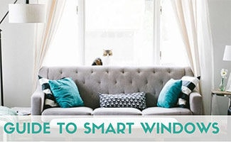 Smart window on in living room (caption: Smart Windows)
