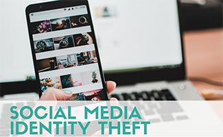 Person on computer and iPhone with social media (caption: Social Media Identity Theft)