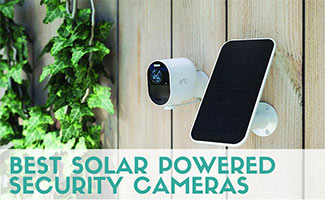 Arlo Ultra camera with solar panel (Caption: Best Solar Powered Security Cameras)