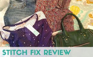 Stitch Fix clothing items on bed