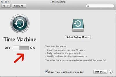 Turn Time Machine on