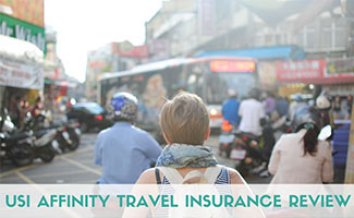 Girl traveling with backpack (caption: USI Affinity Travel Insurance)