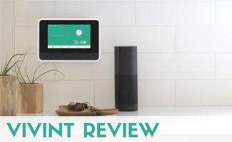 Vivint control panel in kitchen (text in image: Vivint Review)