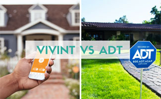 Vivint app and ADT yard sign (text in image: Vivint vs ADT)