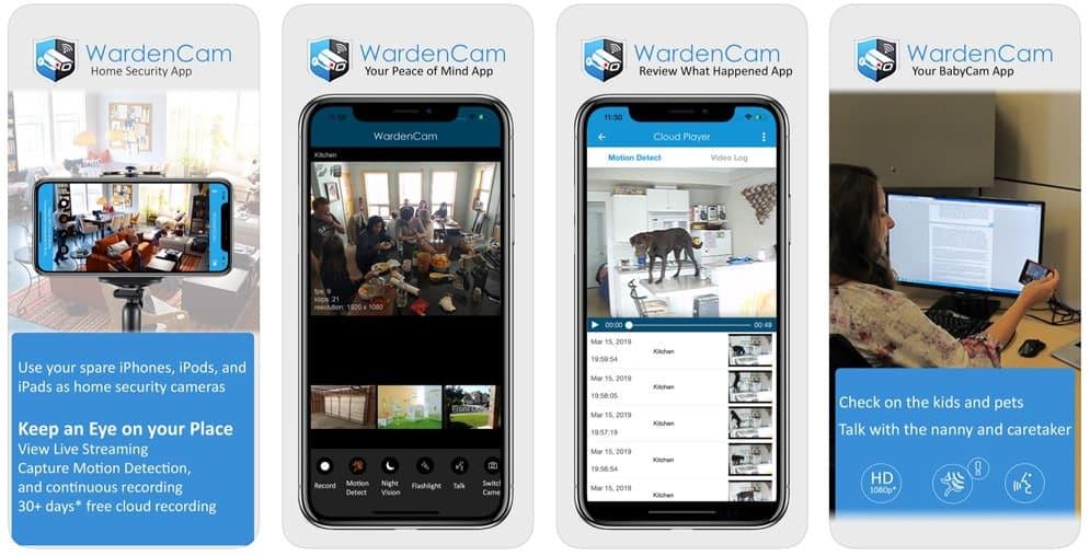 WardenCam home security camera iOS app screenshots