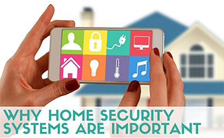 Woman holding iPhone controlling home security system (caption: Why Home Security Systems Are Important)