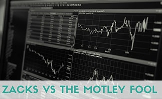 Investment charts on screen (caption: Zacks vs The Motley Fool)